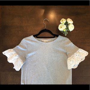 EUC Eliane Rose Grey Cotton Flutter Sleeve Dress
